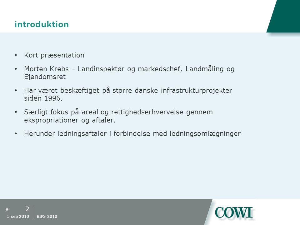 # introduktion  Kort præsentation  Morten Krebs – Landinspektør og markedschef, Landmåling og Ejendomsret  Har været beskæftiget på større danske infrastrukturprojekter siden 1996.