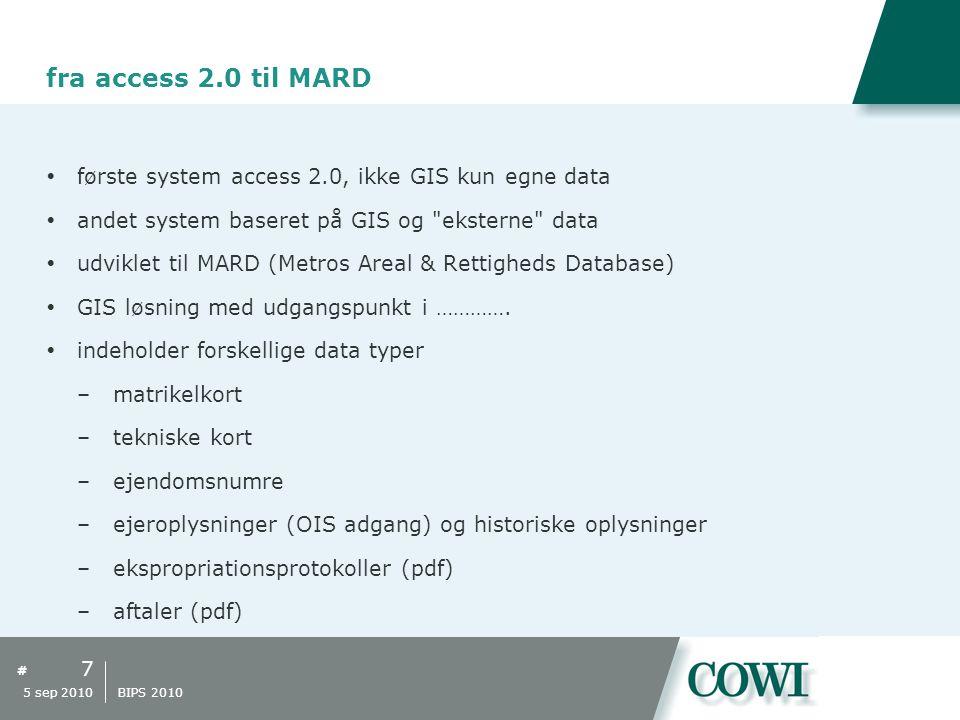 # fra access 2.0 til MARD  første system access 2.0, ikke GIS kun egne data  andet system baseret på GIS og eksterne data  udviklet til MARD (Metros Areal & Rettigheds Database)  GIS løsning med udgangspunkt i ………….