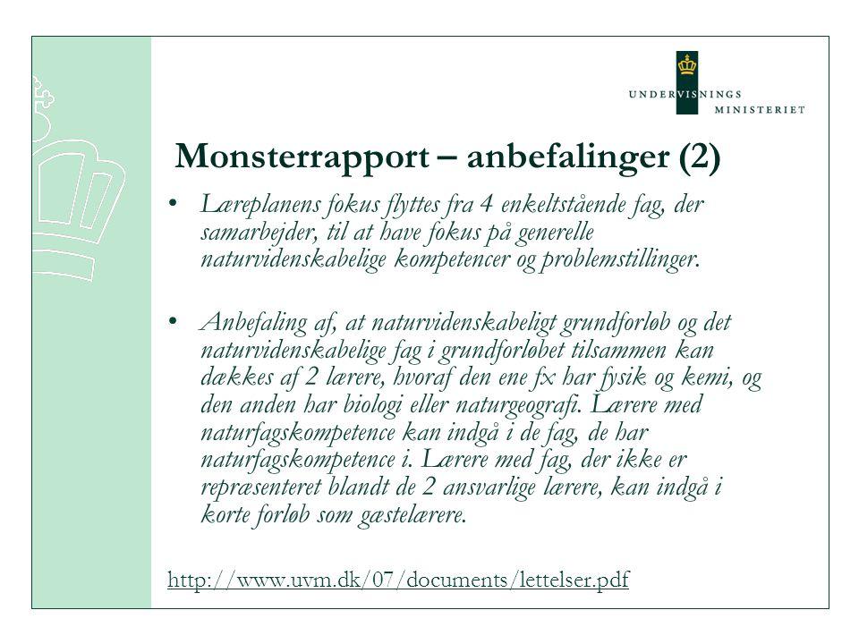 Monsterrapport – anbefalinger (2) •Læreplanens fokus flyttes fra 4 enkeltstående fag, der samarbejder, til at have fokus på generelle naturvidenskabelige kompetencer og problemstillinger.