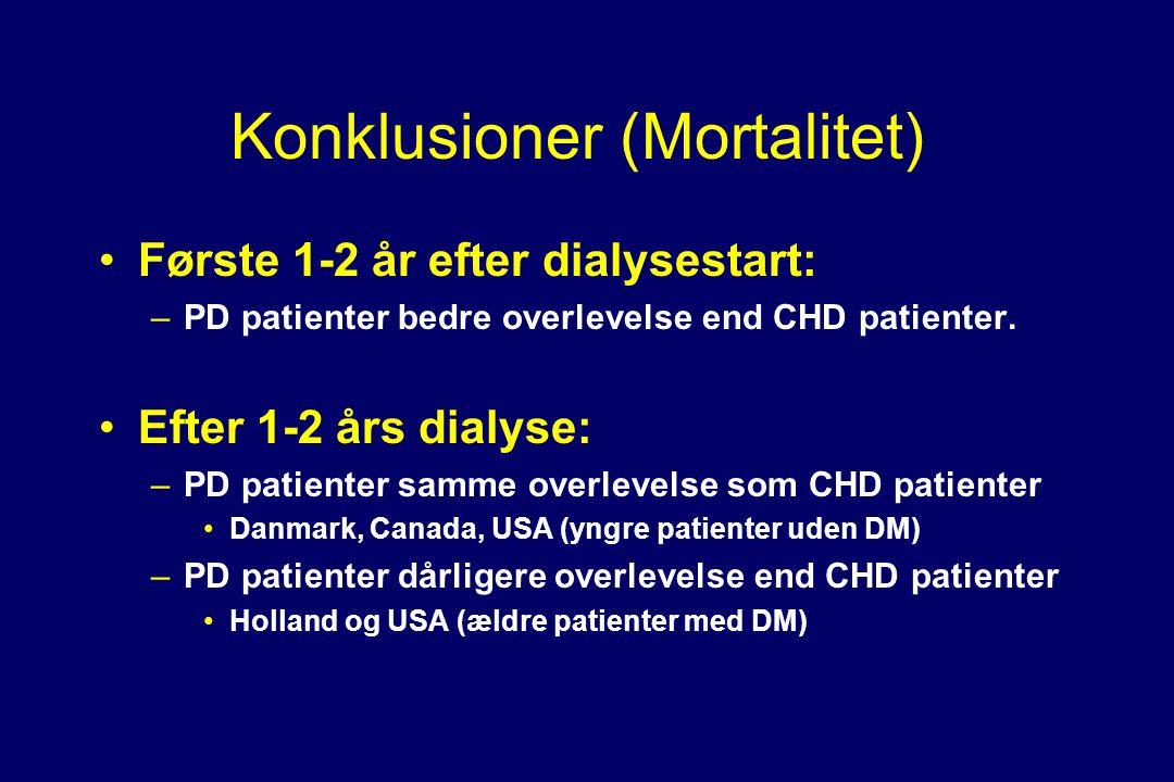 Konklusioner (Mortalitet) •Første 1-2 år efter dialysestart: –PD patienter bedre overlevelse end CHD patienter.