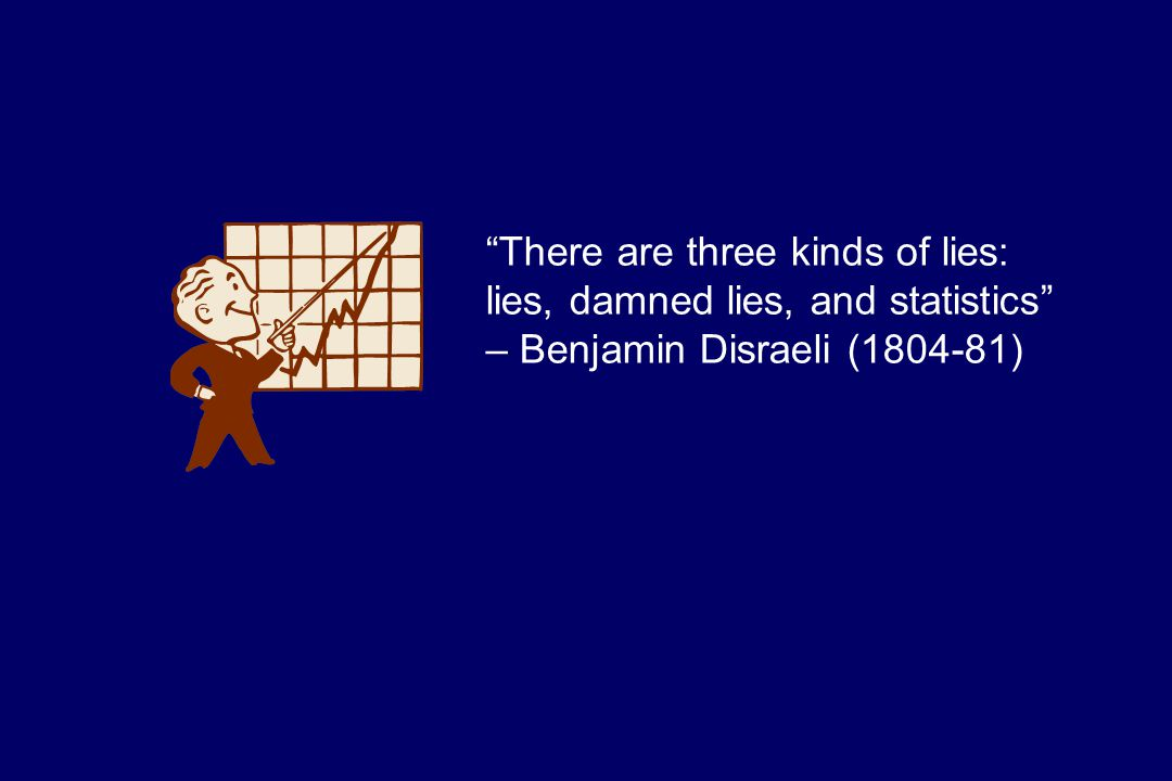There are three kinds of lies: lies, damned lies, and statistics – Benjamin Disraeli (1804-81)