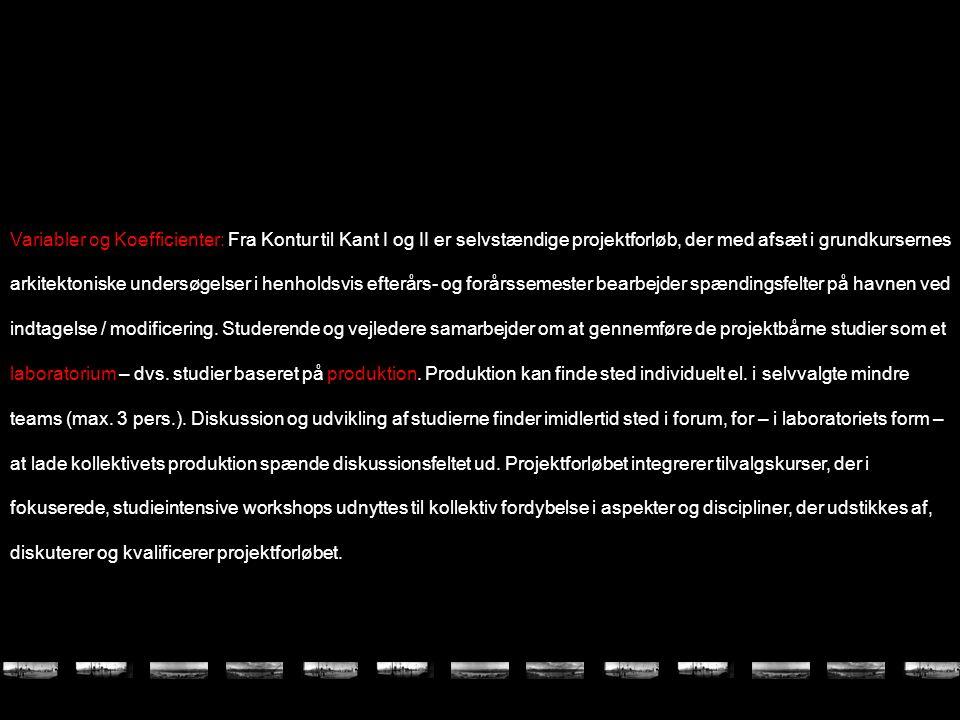 Variabler og Koefficienter: Fra Kontur til Kant I og II er selvstændige projektforløb, der med afsæt i grundkursernes arkitektoniske undersøgelser i henholdsvis efterårs- og forårssemester bearbejder spændingsfelter på havnen ved indtagelse / modificering.