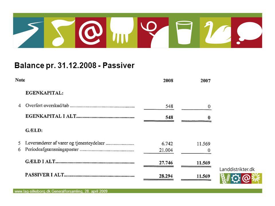 www.lag-silkeborg.dk Generalforsamling, 28. april 2009 Balance pr. 31.12.2008 - Passiver