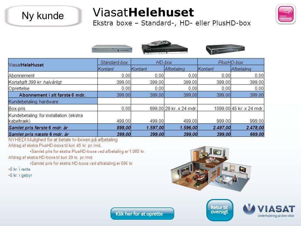 ViasatHelehuset Ekstra boxe – Standard-, HD- eller PlusHD-box Ny kunde ViasatHeleHuset Standard-boxHD-boxPlusHD-box Kontant AfbetalingKontantAfbetaling Abonnement0,00 Kortafgift 399 kr.