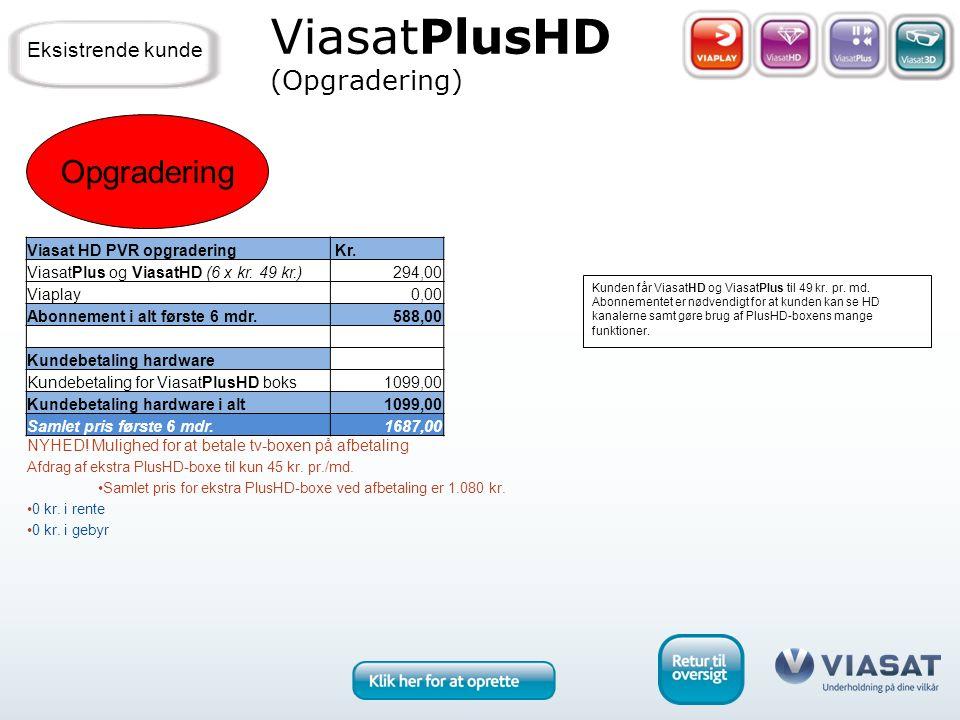 Opgradering ViasatPlusHD (Opgradering) Kunden får ViasatHD og ViasatPlus til 49 kr.
