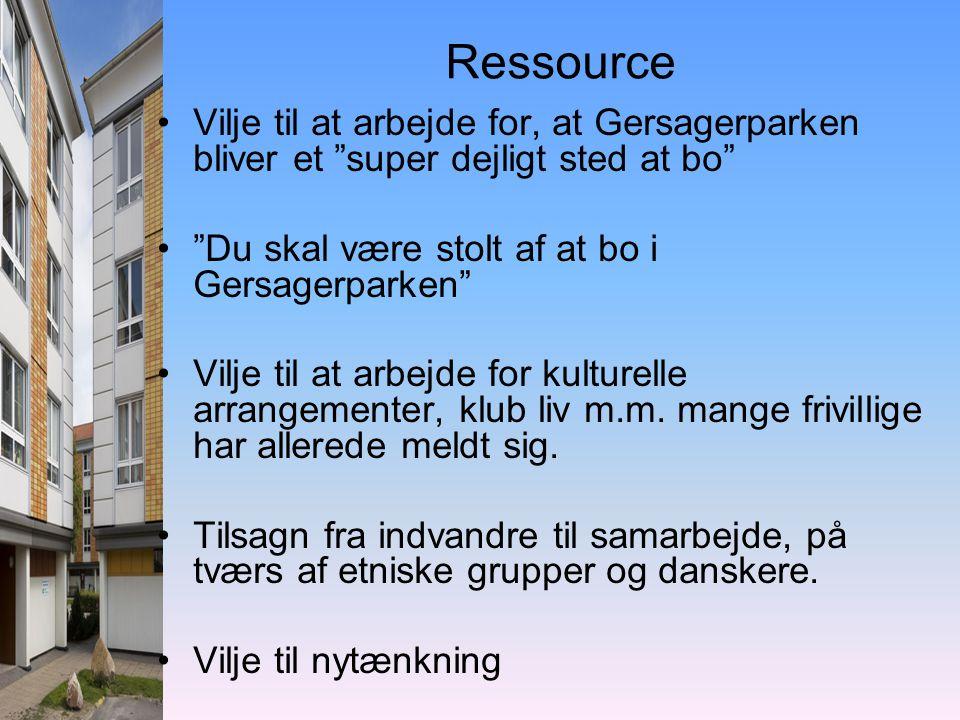 Ressource •Vilje til at arbejde for, at Gersagerparken bliver et super dejligt sted at bo • Du skal være stolt af at bo i Gersagerparken •Vilje til at arbejde for kulturelle arrangementer, klub liv m.m.