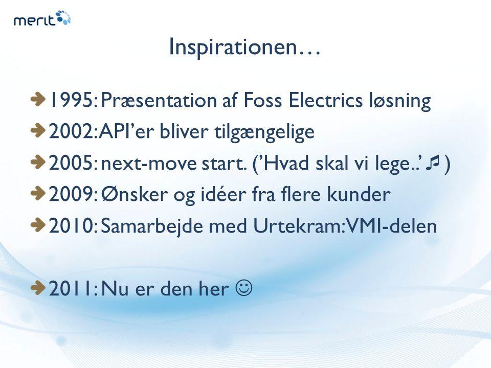 Inspirationen… 1995: Præsentation af Foss Electrics løsning 2002: API'er bliver tilgængelige 2005: next-move start.