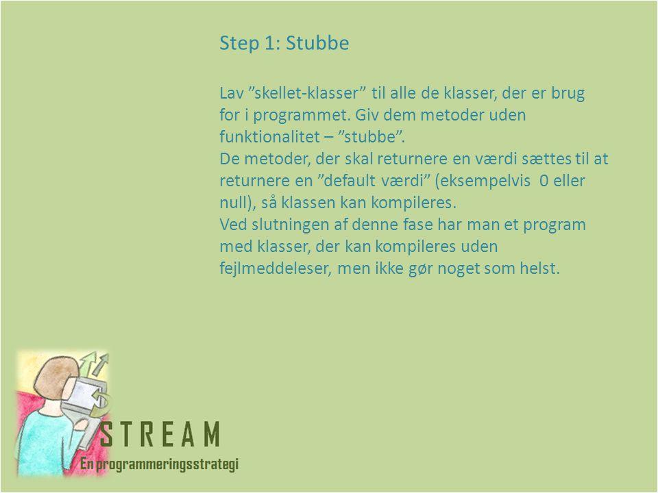 Step 1: Stubbe Lav skellet-klasser til alle de klasser, der er brug for i programmet.