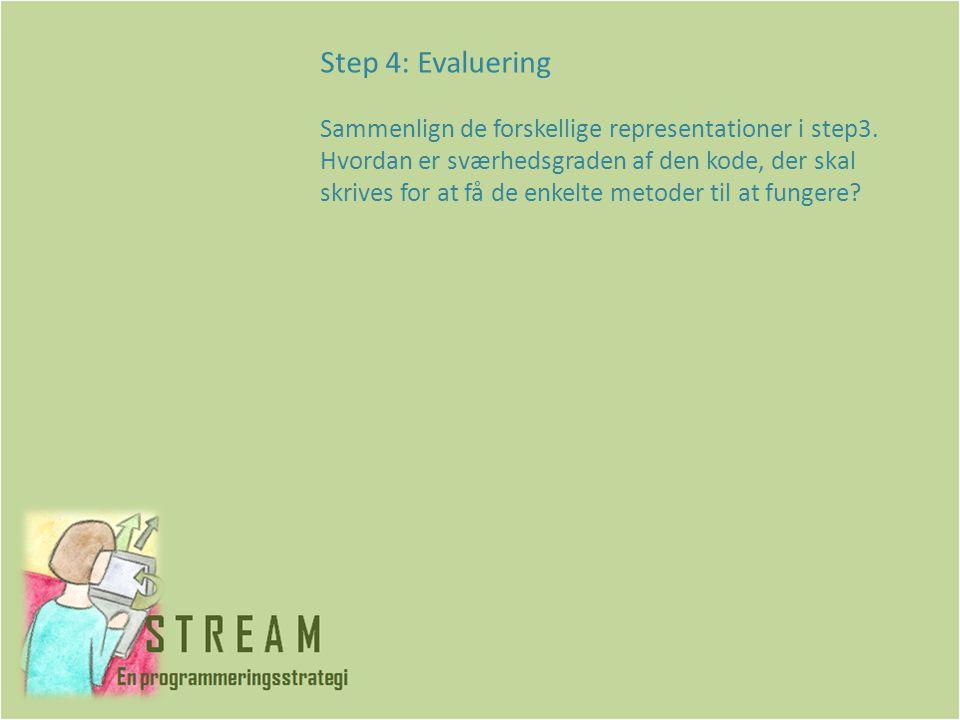 Step 4: Evaluering Sammenlign de forskellige representationer i step3.
