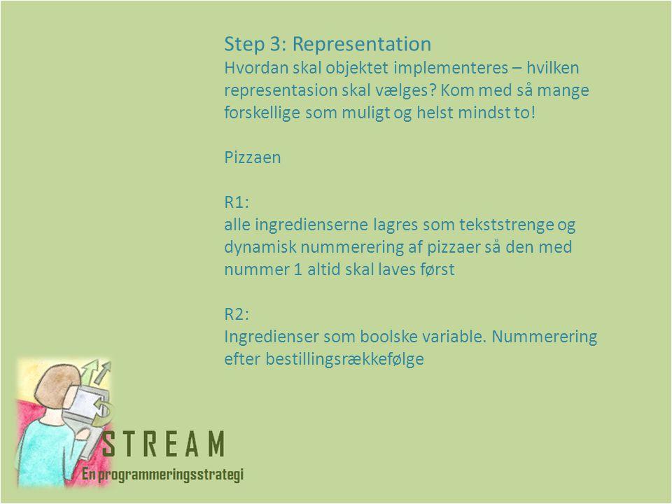 Step 3: Representation Hvordan skal objektet implementeres – hvilken representasion skal vælges.
