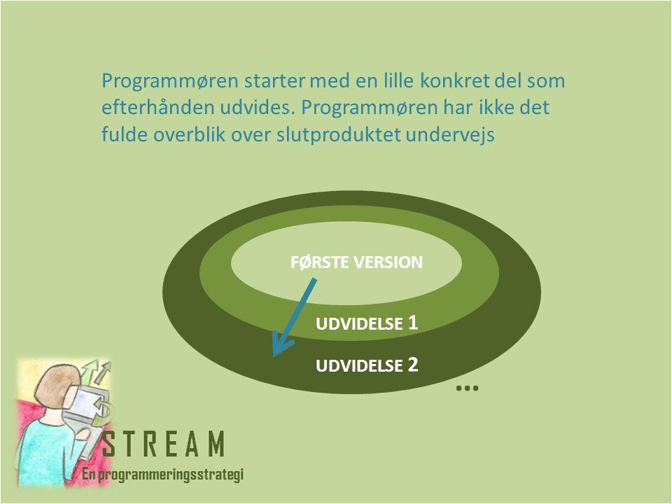 Programmøren starter med en lille konkret del som efterhånden udvides.
