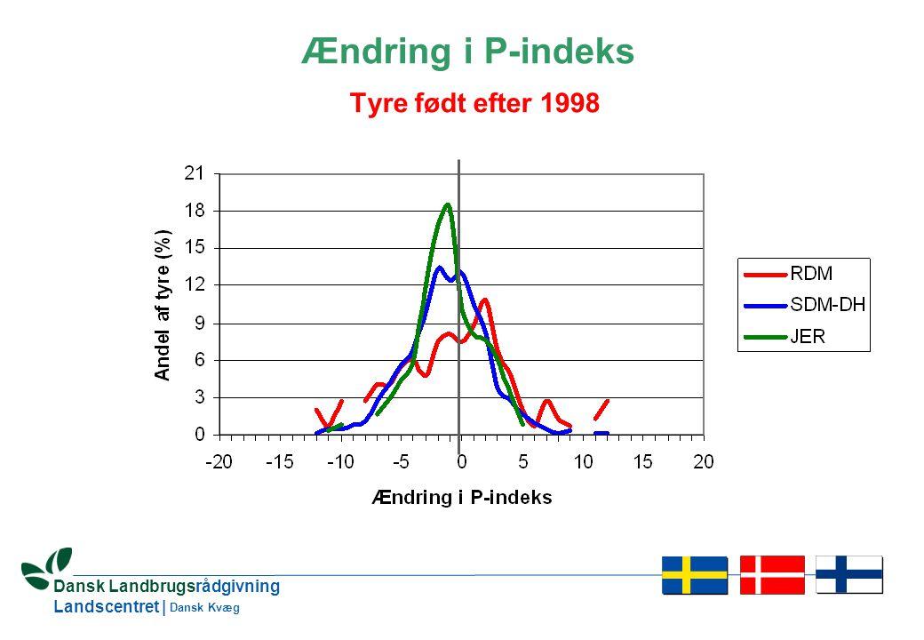 6 Dansk Landbrugsrådgivning Landscentret | Dansk Kvæg Ændring i P-indeks Tyre født efter 1998