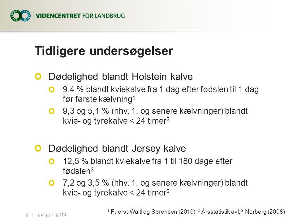 Tidligere undersøgelser Dødelighed blandt Holstein kalve 9,4 % blandt kviekalve fra 1 dag efter fødslen til 1 dag før første kælvning 1 9,3 og 5,1 % (hhv.