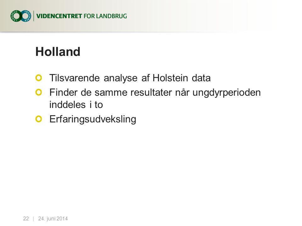 Holland Tilsvarende analyse af Holstein data Finder de samme resultater når ungdyrperioden inddeles i to Erfaringsudveksling 24.