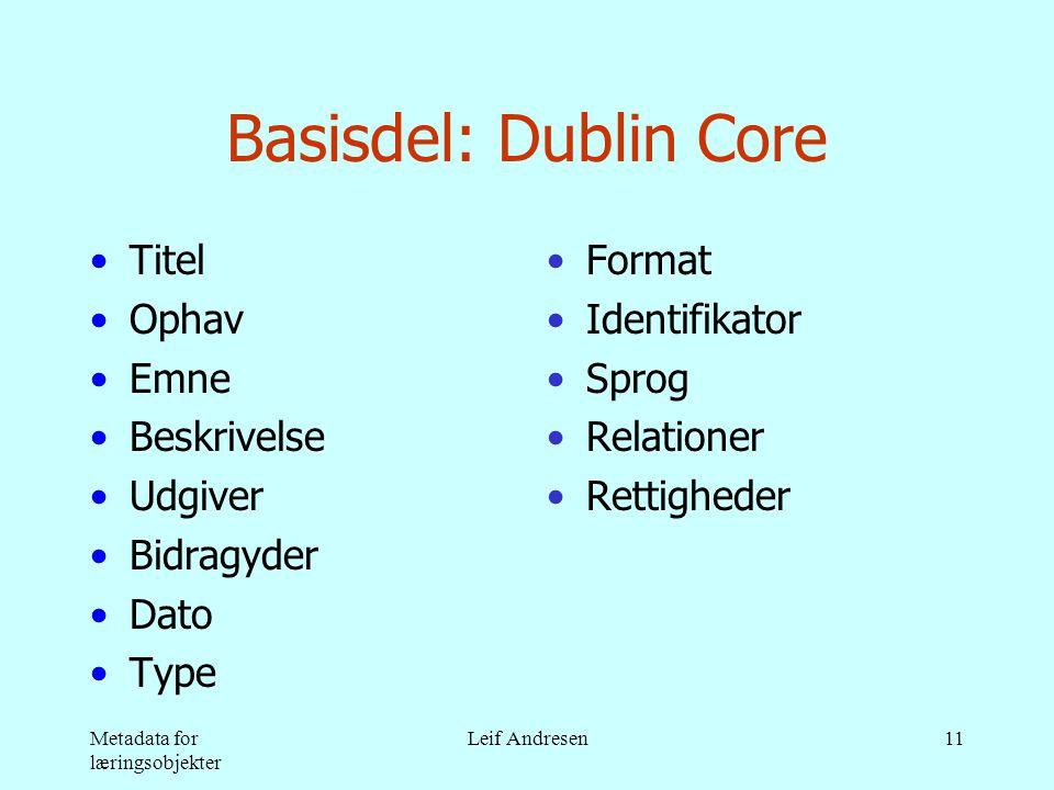 Metadata for læringsobjekter Leif Andresen11 Basisdel: Dublin Core •Titel •Ophav •Emne •Beskrivelse •Udgiver •Bidragyder •Dato •Type •Format •Identifikator •Sprog •Relationer •Rettigheder