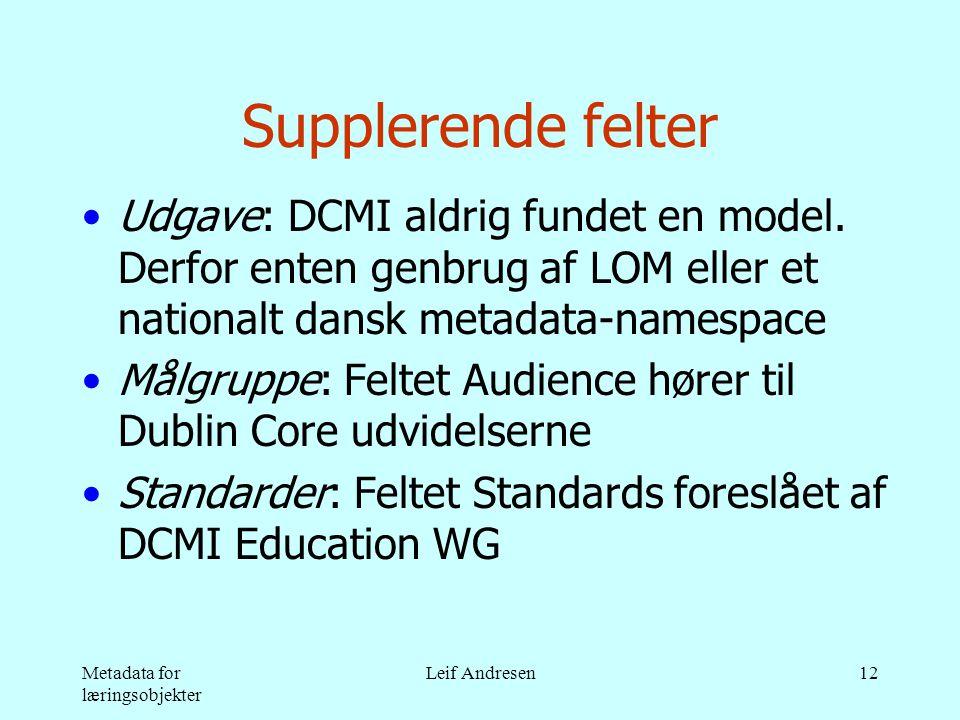 Metadata for læringsobjekter Leif Andresen12 Supplerende felter •Udgave: DCMI aldrig fundet en model.