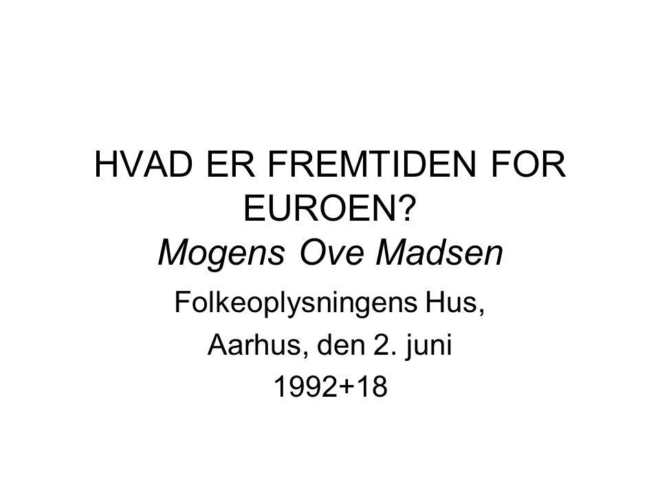 HVAD ER FREMTIDEN FOR EUROEN Mogens Ove Madsen Folkeoplysningens Hus, Aarhus, den 2. juni 1992+18