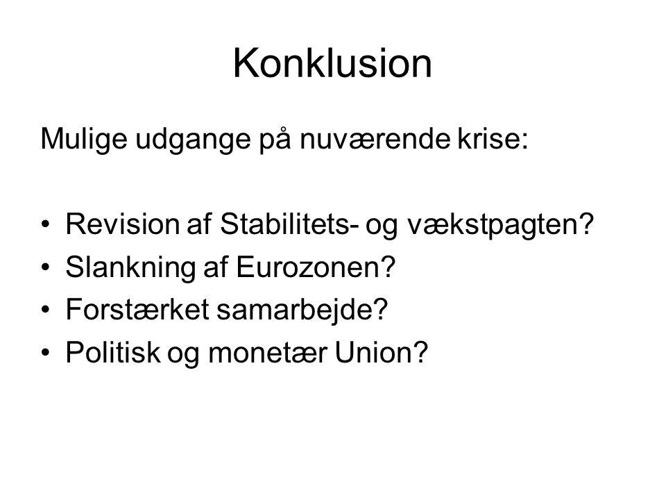 Konklusion Mulige udgange på nuværende krise: •Revision af Stabilitets- og vækstpagten.