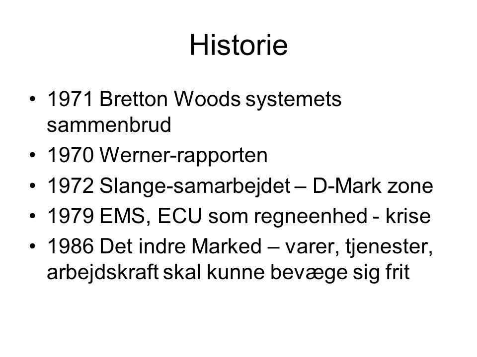 Historie •1971 Bretton Woods systemets sammenbrud •1970 Werner-rapporten •1972 Slange-samarbejdet – D-Mark zone •1979 EMS, ECU som regneenhed - krise •1986 Det indre Marked – varer, tjenester, arbejdskraft skal kunne bevæge sig frit