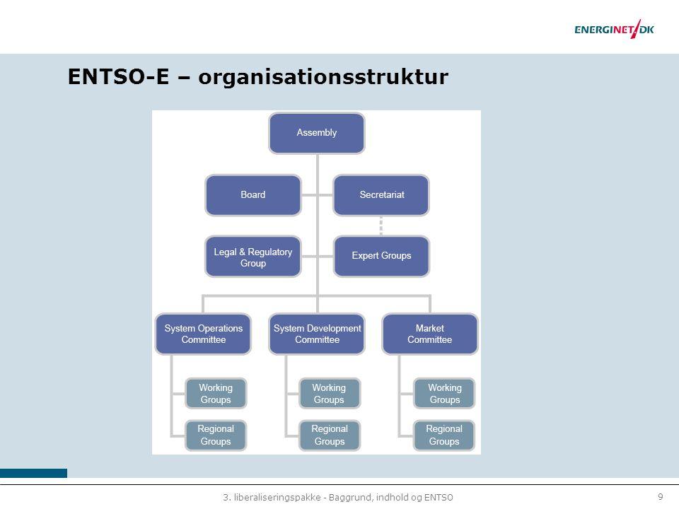 9 3. liberaliseringspakke - Baggrund, indhold og ENTSO ENTSO-E – organisationsstruktur