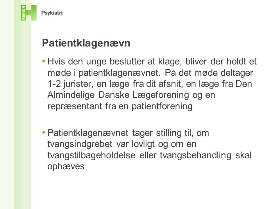 Patientklagenævn • Hvis den unge beslutter at klage, bliver der holdt et møde i patientklagenævnet.