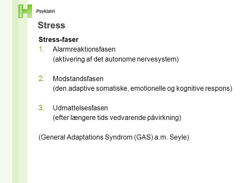 Stress Stress-faser 1. Alarmreaktionsfasen (aktivering af det autonome nervesystem) 2.