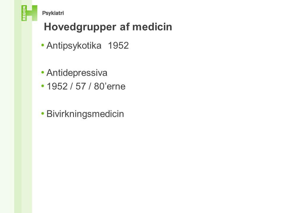 Hovedgrupper af medicin • Antipsykotika 1952 • Antidepressiva • 1952 / 57 / 80'erne • Bivirkningsmedicin