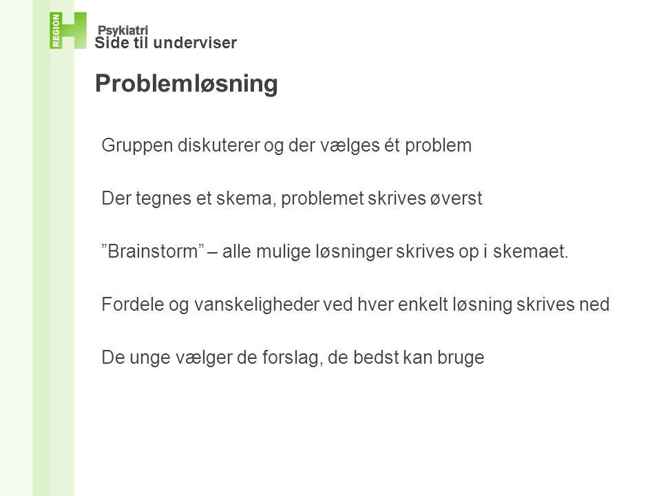 Side til underviser Problemløsning Gruppen diskuterer og der vælges ét problem Der tegnes et skema, problemet skrives øverst Brainstorm – alle mulige løsninger skrives op i skemaet.