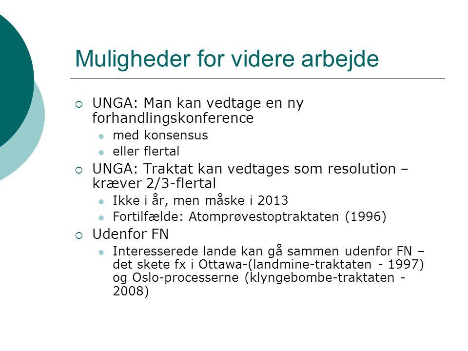  UNGA: Man kan vedtage en ny forhandlingskonference  med konsensus  eller flertal  UNGA: Traktat kan vedtages som resolution – kræver 2/3-flertal  Ikke i år, men måske i 2013  Fortilfælde: Atomprøvestoptraktaten (1996)  Udenfor FN  Interesserede lande kan gå sammen udenfor FN – det skete fx i Ottawa-(landmine-traktaten - 1997) og Oslo-processerne (klyngebombe-traktaten - 2008)