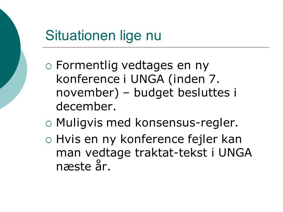  Formentlig vedtages en ny konference i UNGA (inden 7.