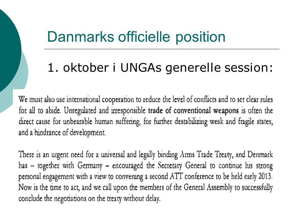 Danmarks officielle position 1. oktober i UNGAs generelle session: