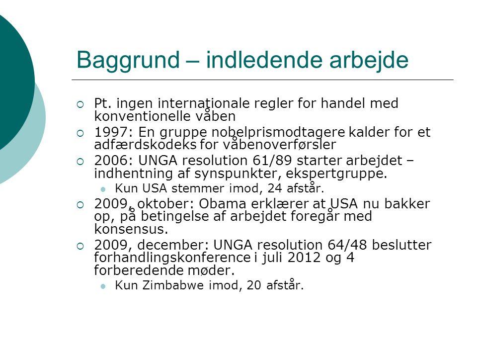 Baggrund – indledende arbejde  Pt.