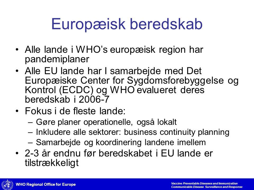 WHO Regional Office for Europe Vaccine Preventable Diseases and Immunization Communicable Disease Surveillance and Response Europæisk beredskab •Alle lande i WHO's europæisk region har pandemiplaner •Alle EU lande har I samarbejde med Det Europæiske Center for Sygdomsforebyggelse og Kontrol (ECDC) og WHO evalueret deres beredskab i 2006-7 •Fokus i de fleste lande: –Gøre planer operationelle, også lokalt –Inkludere alle sektorer: business continuity planning –Samarbejde og koordinering landene imellem •2-3 år endnu før beredskabet i EU lande er tilstrækkeligt