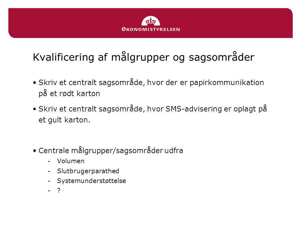 Kvalificering af målgrupper og sagsområder •Skriv et centralt sagsområde, hvor der er papirkommunikation på et rødt karton •Skriv et centralt sagsområde, hvor SMS-advisering er oplagt på et gult karton.