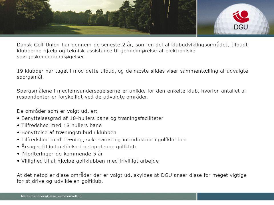 Medlemsundersøgelse, sammentælling Dansk Golf Union har gennem de seneste 2 år, som en del af klubudviklingsområdet, tilbudt klubberne hjælp og teknisk assistance til gennemførelse af elektroniske spørgeskemaundersøgelser.