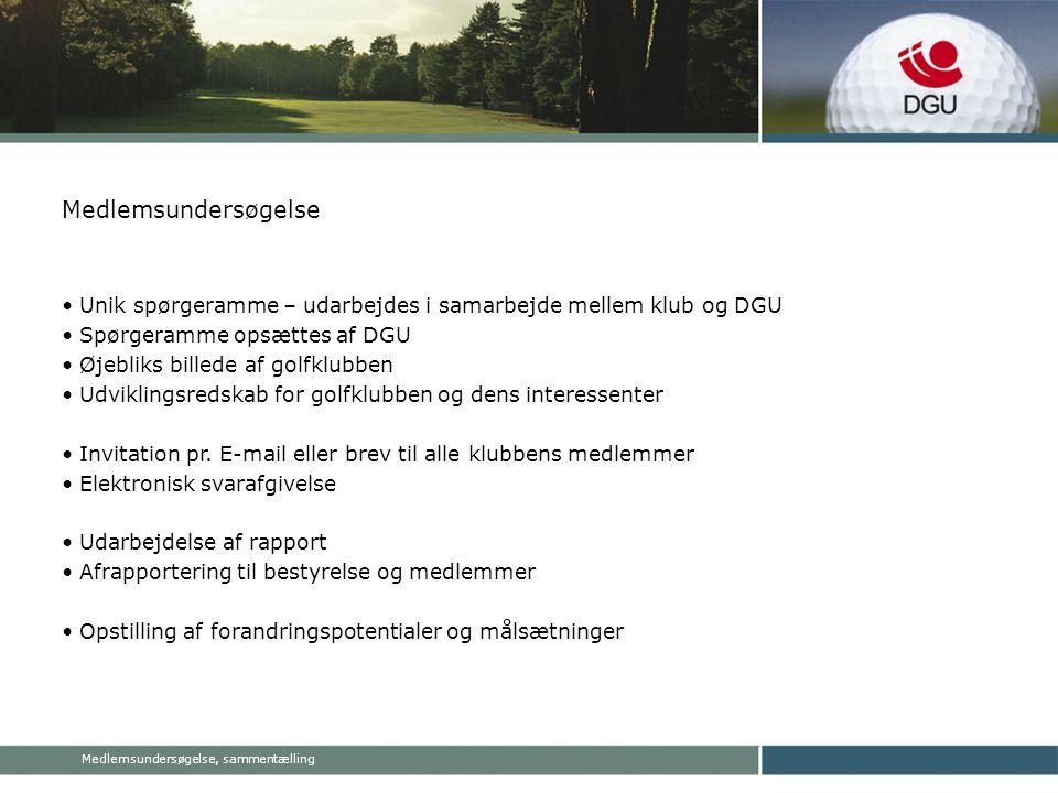 Medlemsundersøgelse, sammentælling Medlemsundersøgelse • Unik spørgeramme – udarbejdes i samarbejde mellem klub og DGU • Spørgeramme opsættes af DGU • Øjebliks billede af golfklubben • Udviklingsredskab for golfklubben og dens interessenter • Invitation pr.