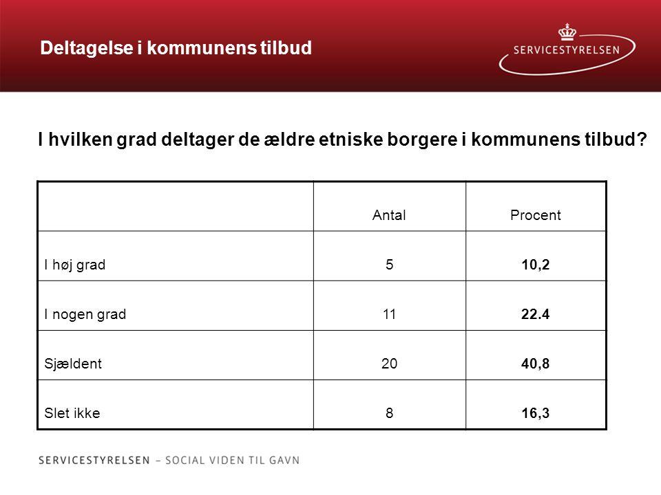 Deltagelse i kommunens tilbud I hvilken grad deltager de ældre etniske borgere i kommunens tilbud.