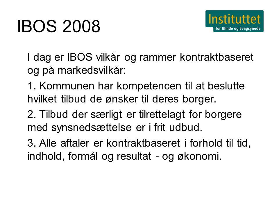 IBOS 2008 I dag er IBOS vilkår og rammer kontraktbaseret og på markedsvilkår: 1.