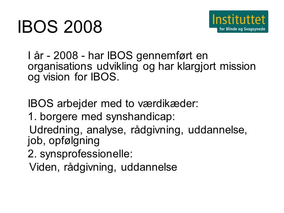IBOS 2008 I år - 2008 - har IBOS gennemført en organisations udvikling og har klargjort mission og vision for IBOS.