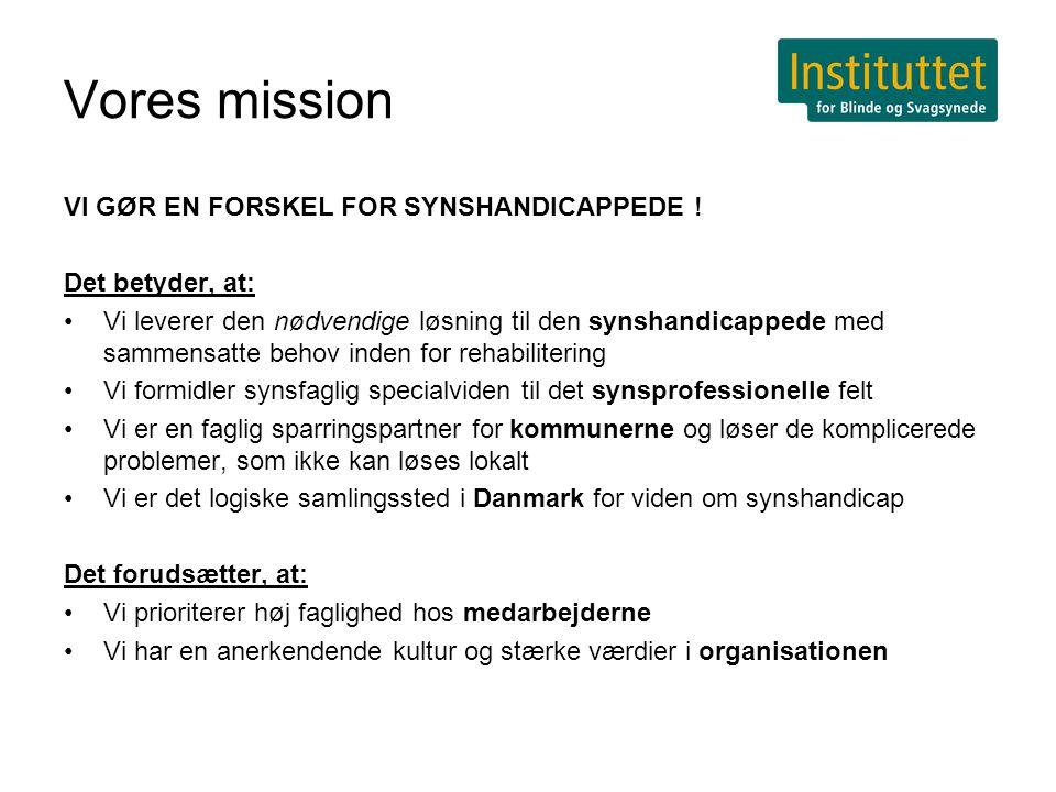 Vores mission VI GØR EN FORSKEL FOR SYNSHANDICAPPEDE .