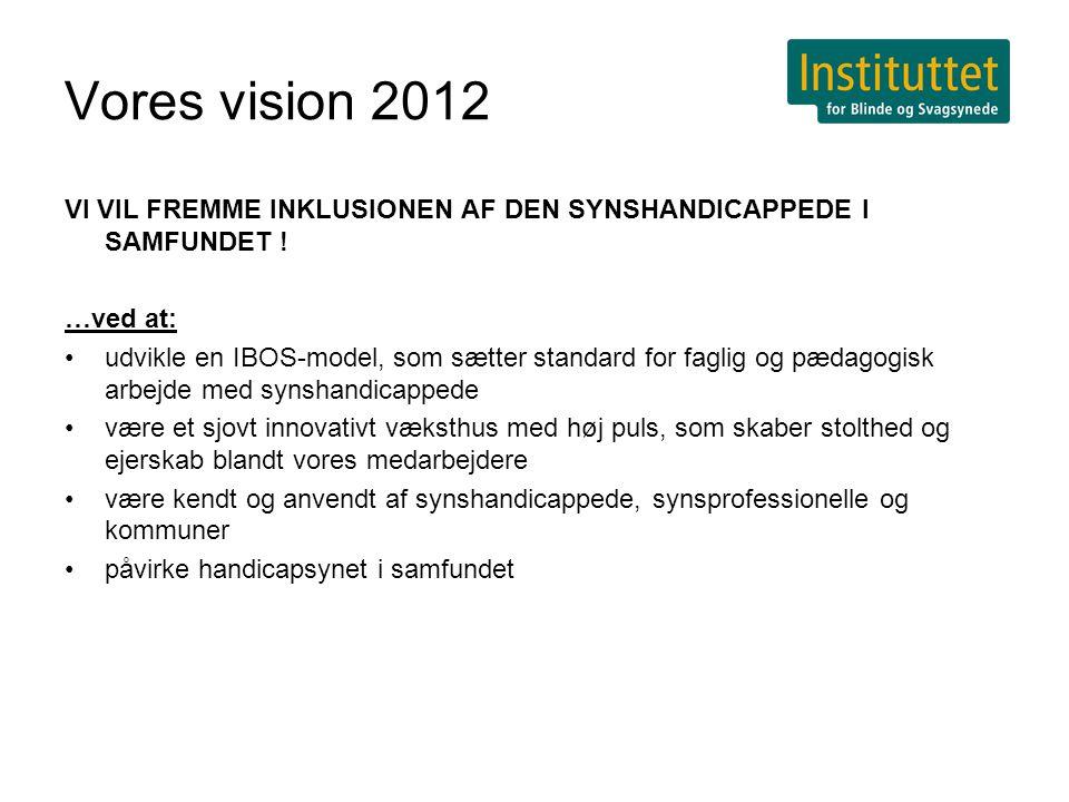 Vores vision 2012 VI VIL FREMME INKLUSIONEN AF DEN SYNSHANDICAPPEDE I SAMFUNDET .
