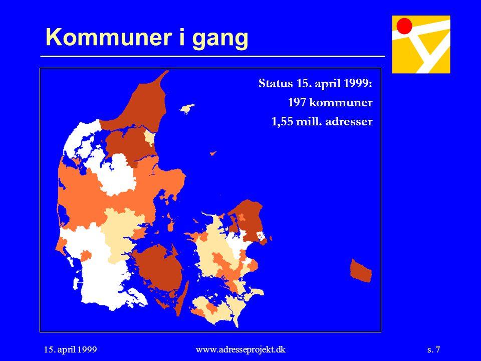 s. 7 15. april 1999www.adresseprojekt.dk Kommuner i gang Status 15.
