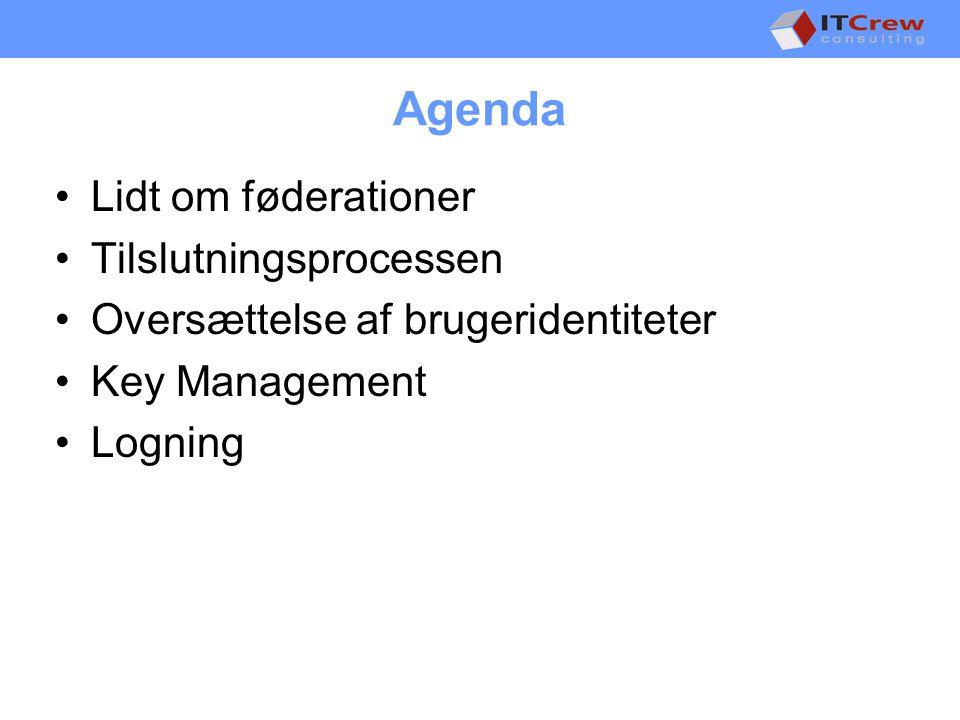Agenda •Lidt om føderationer •Tilslutningsprocessen •Oversættelse af brugeridentiteter •Key Management •Logning