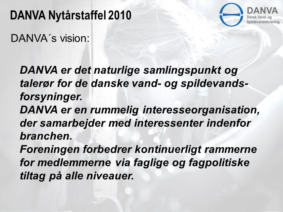 DANVA´s vision: DANVA er det naturlige samlingspunkt og talerør for de danske vand- og spildevands- forsyninger.