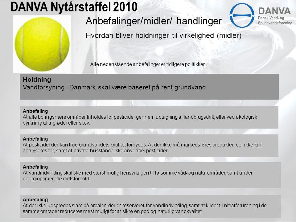 DANVA Nytårstaffel 2010 Holdning Vandforsyning i Danmark skal være baseret på rent grundvand Anbefaling At alle boringsnære områder friholdes for pesticider gennem udtagning af landbrugsdrift, eller ved økologisk dyrkning af afgrøder eller skov.