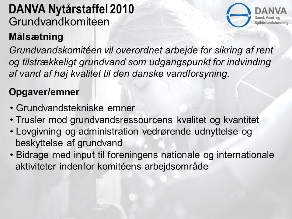 Grundvandkomiteen Målsætning DANVA Nytårstaffel 2010 Grundvandskomitéen vil overordnet arbejde for sikring af rent og tilstrækkeligt grundvand som udgangspunkt for indvinding af vand af høj kvalitet til den danske vandforsyning.