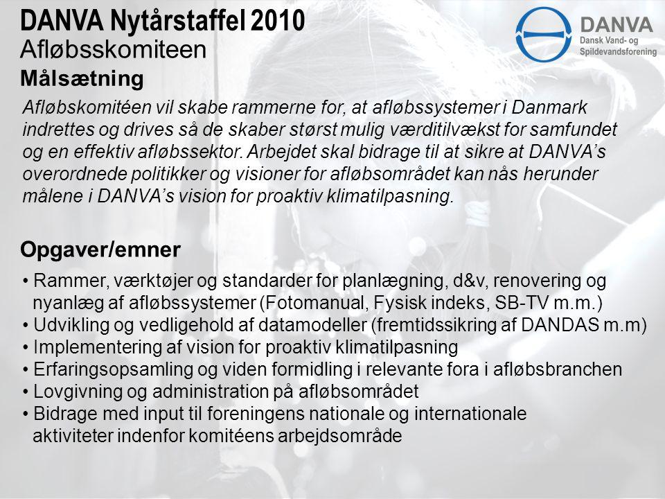 Afløbsskomiteen Målsætning DANVA Nytårstaffel 2010 Afløbskomitéen vil skabe rammerne for, at afløbssystemer i Danmark indrettes og drives så de skaber størst mulig værditilvækst for samfundet og en effektiv afløbssektor.