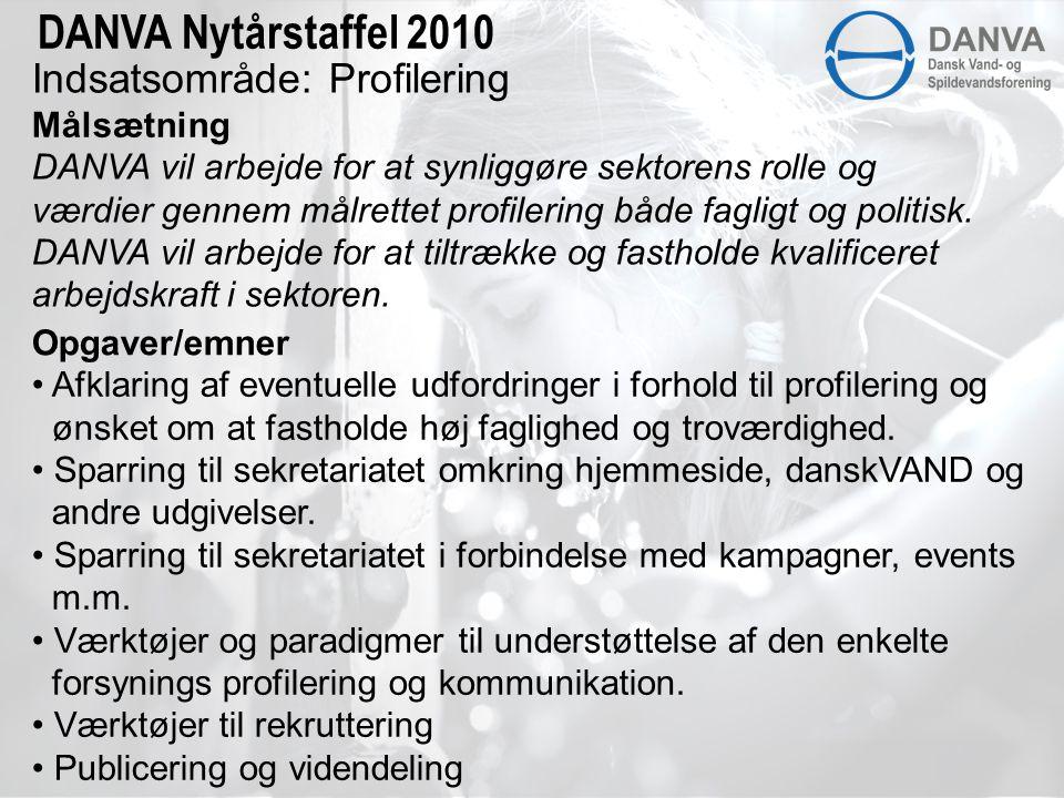 Indsatsområde: Profilering Målsætning DANVA Nytårstaffel 2010 DANVA vil arbejde for at synliggøre sektorens rolle og værdier gennem målrettet profilering både fagligt og politisk.
