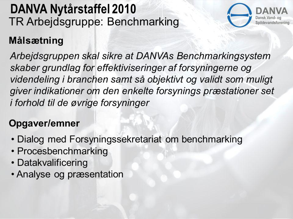 TR Arbejdsgruppe: Benchmarking Målsætning DANVA Nytårstaffel 2010 Arbejdsgruppen skal sikre at DANVAs Benchmarkingsystem skaber grundlag for effektiviseringer af forsyningerne og videndeling i branchen samt så objektivt og validt som muligt giver indikationer om den enkelte forsynings præstationer set i forhold til de øvrige forsyninger Opgaver/emner • Dialog med Forsyningssekretariat om benchmarking • Procesbenchmarking • Datakvalificering • Analyse og præsentation