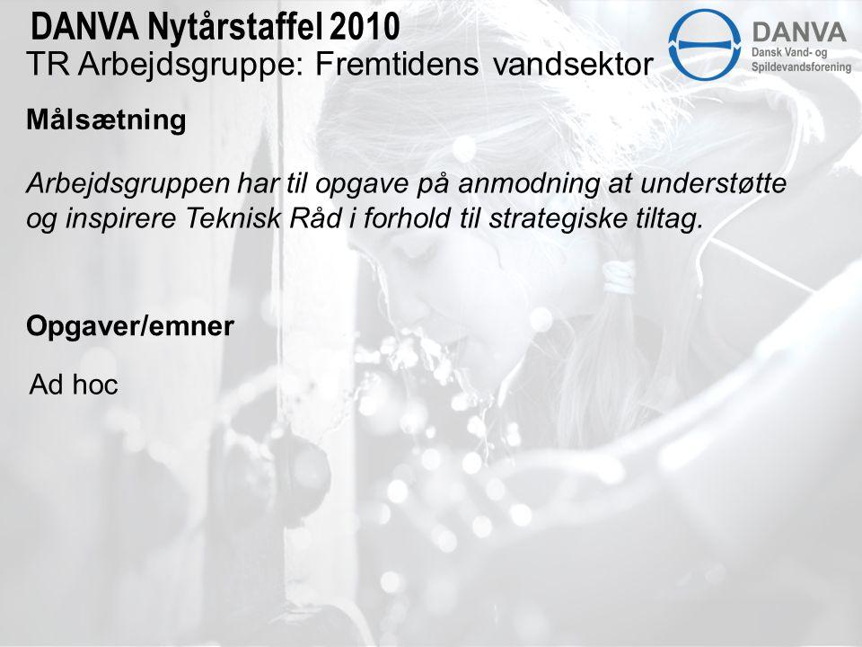 TR Arbejdsgruppe: Fremtidens vandsektor Målsætning DANVA Nytårstaffel 2010 Arbejdsgruppen har til opgave på anmodning at understøtte og inspirere Teknisk Råd i forhold til strategiske tiltag.
